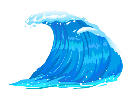 One big blue ocean wave illustration, wonderful surfing wave, isolated Illustration