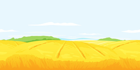 Wheat field with stalks on light blue sky, summer countryside with yellow hills, rural landscape tileable horizontally