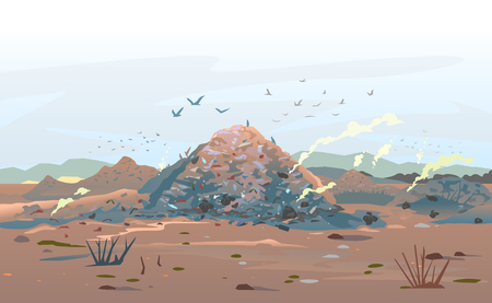 Garage dump concept with mountains of trash and flock of birds, unpleasant smell in an infinite landfill heap landscape as a background of environmental damage issues, environmental pollution