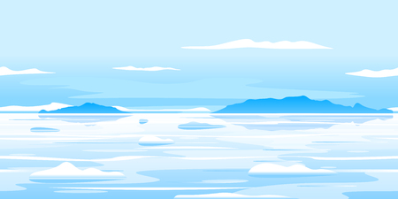 Frozen ocean landscape with icebergs, nature game background, tileable horizontally, eps10 with transpatents Çizim