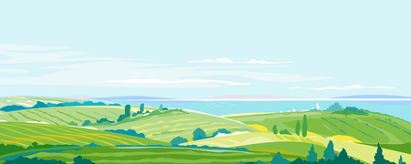 Big panorama of agricultural fields, hills and meadows near the sea coast, summer countryside with green hills, rural landscape, agricultural land with crops and vineyards, travel concept illustration, simple colors stylization