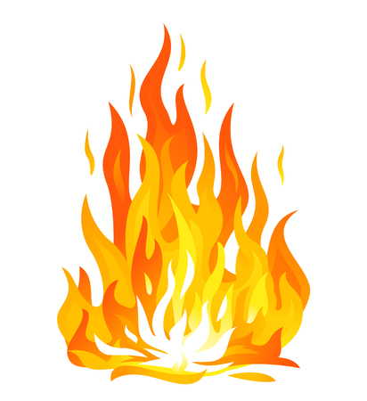 One big bonfire with long flames, red hot hearth illustration, tongues of flame isolated on white