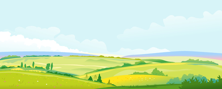 Big panorama of fields and meadows, summer countryside with green hills, rural landscape, summer sunny glades with flowers, agricultural land with pastures, travel concept illustration Illusztráció