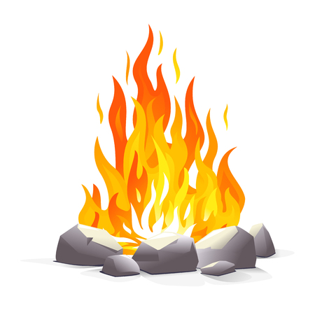 One big campfire with long flames, red hot hearth illustration, tongues of flame isolated on white Illustration