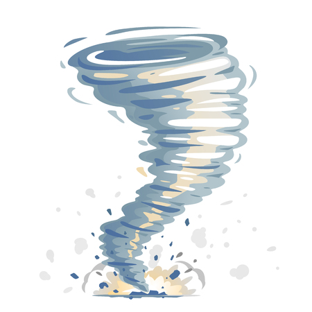 One big cartoon tornado with spiral twists, dust and stones, illustration of dangerous natural phenomenon, isolated