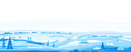 Big panorama of fields in winter with snow and ice, winter countryside with snowy hills, rural landscape, travel concept illustration