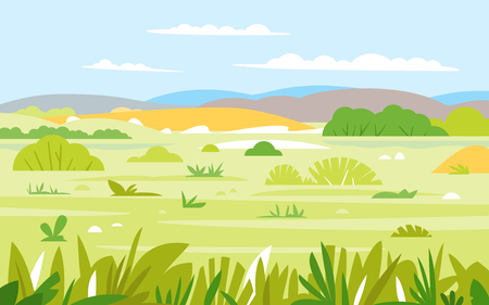 Nature landscape with grass and bushes in summer day, simple geometric stylization, wild African savannah wildlife Illustration