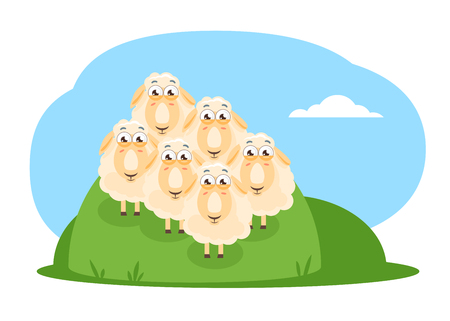 Flock of cartoon sheep with big eyes standing on a green meadow in front view, concept of expectation of the event