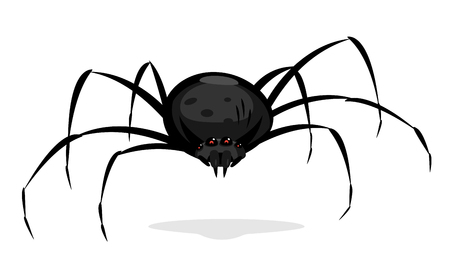 One big black cartoon spider with red evil eyes looking at you, scary spider in front view isolated on white
