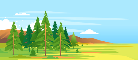 Spruce forest summer landscape with mountains in simple geometric form, green triangular spruce with truncated branches, nature travel banner illustration