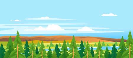 Spruce tops forest summer landscape background in simple geometric form, wildlife panorama with mountain hills and river in the valley in sunny day with blue sky, green triangular spruce with truncated branches, nature travel banner illustration Ilustração Vetorial