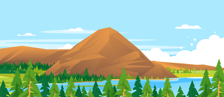 Mountain in Forest Landscape Background