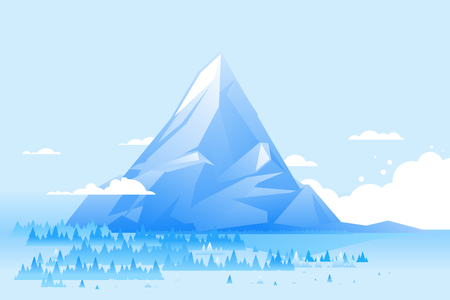 High mountain with spruce forest in simple geometric form, nature landscape, trevel illustration