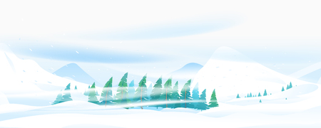 Snow blizzard in winter mountain, extreme weather conditions with cold wind and snow, spruce forest trees inclined from snowstorm, winter nature landscape panorama with spruce-trees near the snowy mou