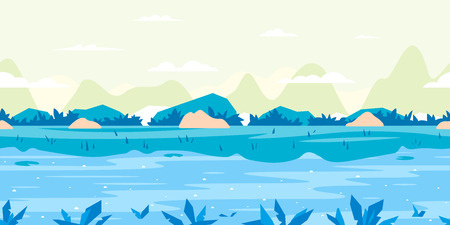 River with fast flow, small green plants and mountains in distance, river shore overgrown with bushes and big stones, nature game background in simple colors and flat style, tileable horizontally