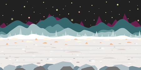 Surface of fantastic planet at night sky with stars, grey ground with small craters and mountains in distance, nature game background in simple colors and flat style, tileable horizontally