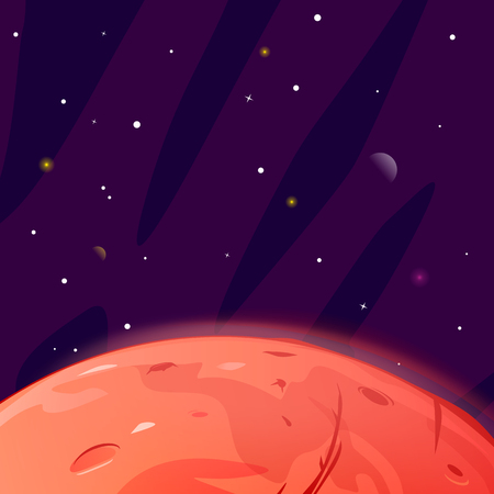Surface of red planet Mars in dark space with stars and planets, space exploration and colonize illustration, space background illustration surface of planet with craters Illustration
