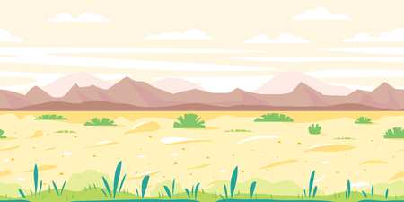 Empty sandy path through the desert with small plants in sunny day, arid deserted place without water and mountains in distance, nature game background in simple colors and flat style, tileable horizontally