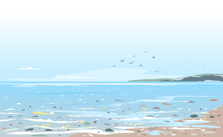Coast polluted of plastic trash, garbage in sea water ecological disaster concept illustration, environmental pollution, trash in seawater, garbage on the beach Ilustração Vetorial