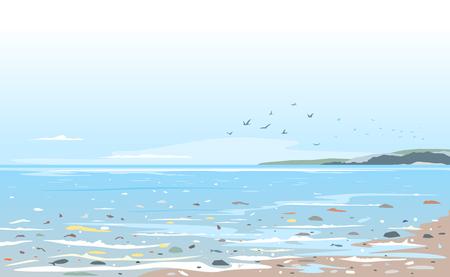 Costa contaminada de basura plástica, basura en la ilustración del concepto de desastre ecológico de agua de mar, contaminación ambiental, basura en agua de mar, basura en la playa Ilustración de vector