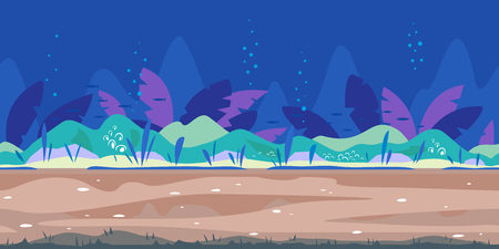 Underwater landscape river bottom with plants, nature game background in simple colors and flat style, tileable horizontally