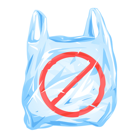One empty plastic bag with handles and red banner sign, isolated, ecological problem concept of using plastic bags, stop using plastic bag conundrum, plastic waste environmental pollution illustration