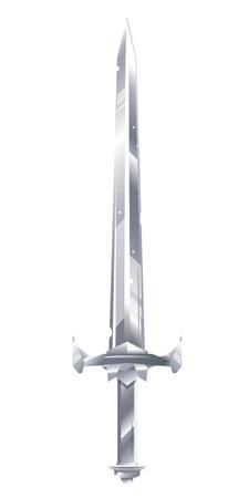 Eine detaillierte Illustration eines Metallschwerts, altes Ritterschwert mit scharfer Klinge und Metallgriff, kalte Waffe isoliert auf Weiß