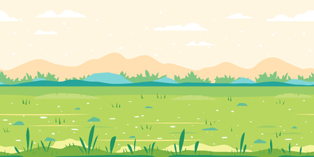 Green grass field with plants along meadow, ground with stones near the bushes, nature game background in simple colors and flat style, tileable horizontally