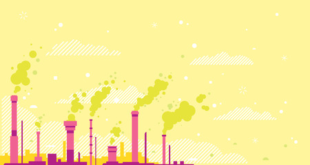 Air pollution conceptual illustration background in flan style and warm contrast colors and lines, yellow sky with red pipes and green toxic smoke, environmental pollution, industrial pipes with smoke