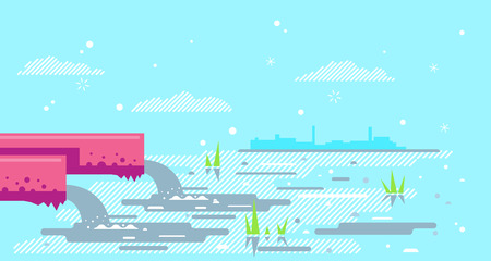 Water pollution from industrial pipe concept illustration background in flat style, two red pipes drain the waste water into river, ecological disaster, dirty toxic effluents, environmental pollution Illustration