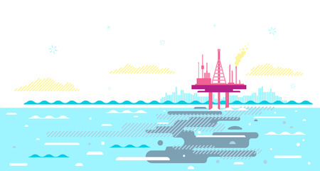 Ocean pollution with crude oil from oil platform, oil in sea water ecological disaster concept illustration, environmental pollution, trash in seawater Illustration