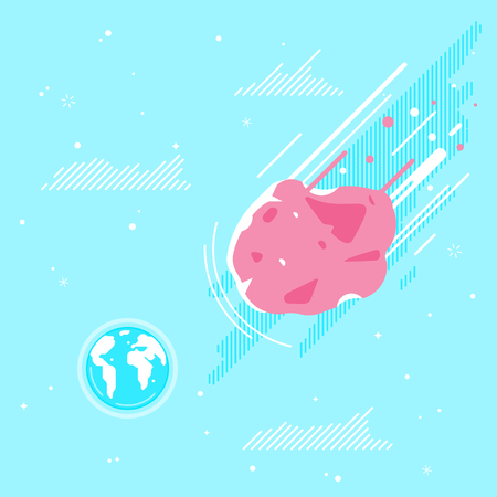 Big asteriod flying in space to the planet Earth concept illustration background in flat style, ecological disaster, extraordinary event