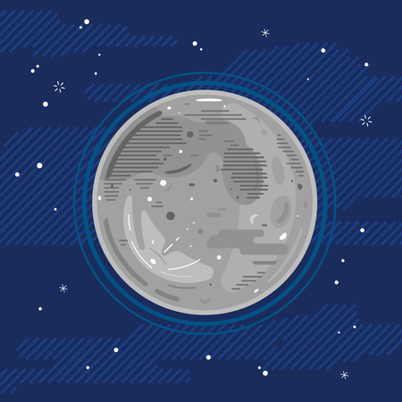 One grey full moon in space with stars, styling simplify space exploration and colonize illustration background in flat style with lines 向量圖像