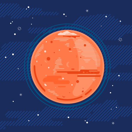 One full red planet Mars in space, space exploration and colonize illustration background in flat style with lines, Martian polar ice cap and glacier 向量圖像