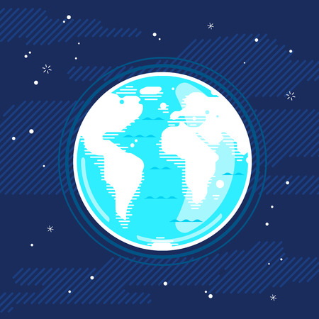 Blue planet Earth with white continents in space, styling simplify concept illustration background in flat style with lines, ecologically clean planet in harmony with nature, space exploration