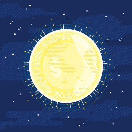 One Sun star in space, space illustration background in flat style with lines, sunny surface with rays and spots
