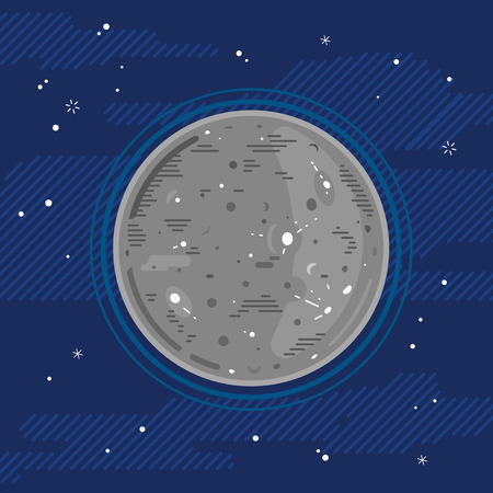 One grey full planet Mercury in space with stars, styling simplify space exploration and colonize illustration background in flat style with lines Vettoriali