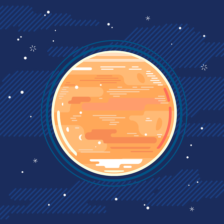 One full planet Venus in space, space exploration and colonize illustration background in flat style with lines