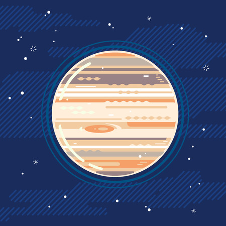 One planet Jupiter in space, space exploration illustration background in flat style with lines, planet surface with great red spot 矢量图像