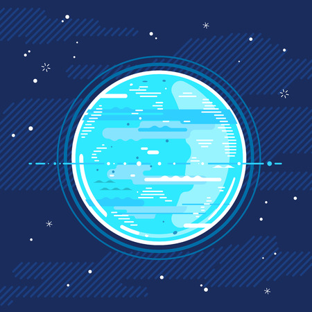 One full planet Uranus in space, space exploration illustration background in flat style with lines, planet with rings Illustration