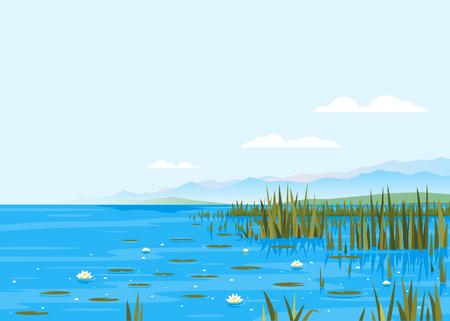 Lago con ilustración de paisaje de naturaleza de plantas de nenúfar y espadaña, lugar de pesca, estanque con agua azul y montañas en la distancia, terreno pintoresco de fondo de viaje de lago en un día sin viento