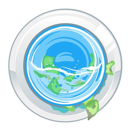 Porta della lavatrice davanti con denaro, illustrazione concettuale del riciclaggio di denaro, isolata su bianco