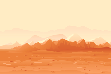 Marte arancio montagne sullo sfondo del paesaggio, colline di sabbia con pietre su un pianeta deserto, panorama di colonizzazione dello spazio, illustrazione del concetto di colonizzazione del pianeta, paesaggio del pianeta Marte