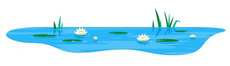 Petit étang décoratif bleu avec des plantes de nénuphar blanc et de scirpe, isolé sur blanc, plantes du lac nature paysage lieu de pêche Vecteurs