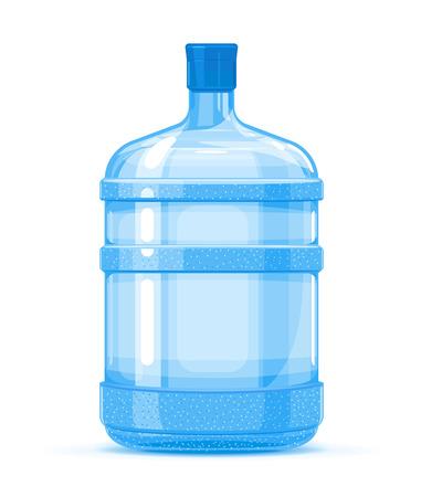 Ilustración de calidad de contenedor de botella de agua de plástico grande de cinco galones de pie sobre fondo blanco, servicio de entrega de agua de agua purificada