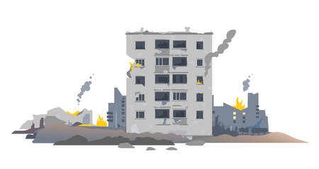 One five-story eastern european destroyed building between the ruins and concrete, war destruction concept illustration isolated on white background Stock Illustratie