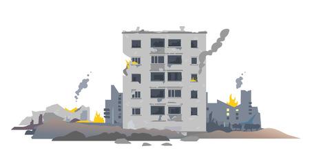 Un edificio destruido europeo del este de cinco pisos entre las ruinas y el hormigón, la ilustración del concepto de destrucción de la guerra aislado en el fondo blanco