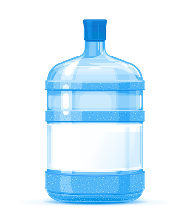 Five gallon big plastic water bottle container with white label quality illustration standing on white background, water delivery service of fresh purified water