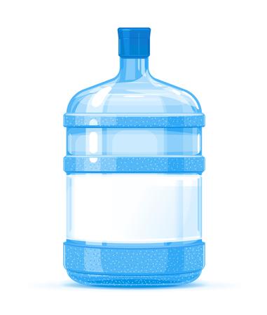 Recipiente de botella de agua de plástico grande de cinco galones con ilustración de calidad de etiqueta blanca de pie sobre fondo blanco, servicio de entrega de agua de agua purificada fresca