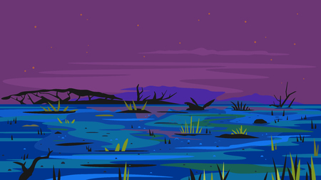 Dark swamp landscape with dead trees in fog with stones and plants, terrible mystical place, swamp with bulrush plants at night